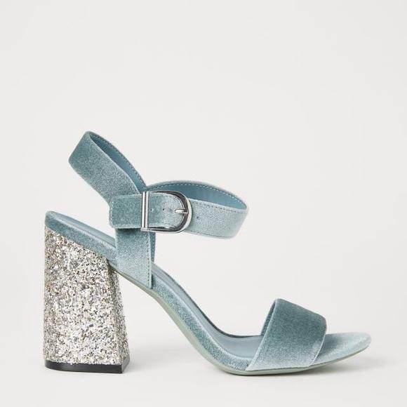 Hm Glitter Block Heel Sandals Nwt